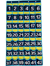 Classroom Numbered Pocket Charts Graphing Calculator Storage Cell Phones Holder 42 Pockets Royal Blue