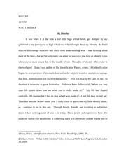 identity essay w ill cliff wac section b pro m pt using the  5 pages identity essay fd