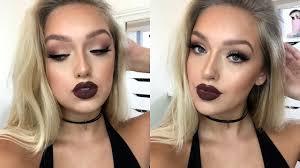 insram bad makeup tutorial matte eyes dark lips outfit