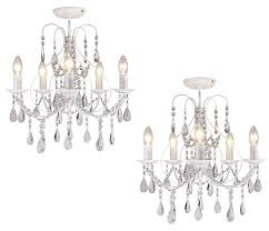 pair of white crystal 5 light ceiling chandelier lights lounge bhs sapparia