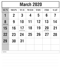 Free March 2020 Printable Calendar Template With Holidays