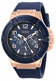 17 best images about guess men s watches sporty guess mens u0247g3 rigor blue rose gold tone silcone casual sport