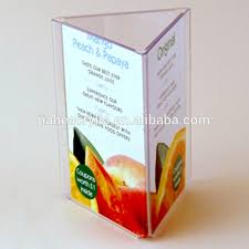 Restaurant Table Top Display Stands Rectangle Three Side Acrylic Tabletop Menu Display Stand 44
