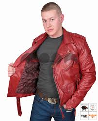 famous fitted biker style leather jacket elvis red