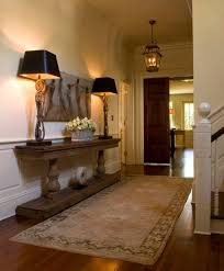 home entrance table. House Entrance With Wooden Console Table And Cordless Lamps Home