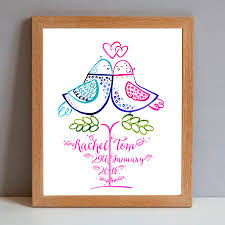 mr and mrs personalised wedding lovebirds gift print