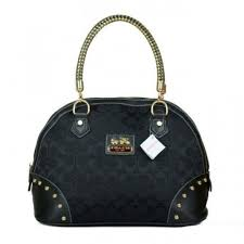 Coach Madison Stud In Monogram Medium Black Satchels BRL