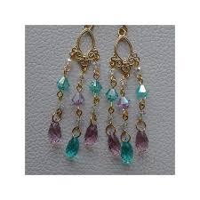 arabesque 1 24k briolette light amethyst light turquoise chandelier earrings
