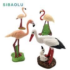 <b>Simulation</b> Mini <b>Flamingo White</b> crane Miniature Animal Model bird ...