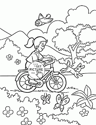 Small Picture Girl rides a bicycle coloring page for kids spring coloring pages