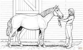 Small Picture Woman and Mare Horse coloring page Free Printable Coloring Pages