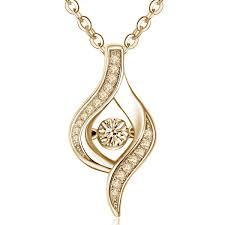 elegant natural 10 carat dancing diamond pendant necklace in 14k yellow gold 0