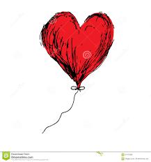 Vecteur Rouge De Dessin De Main De Griffonnage De Coeur De Ballon