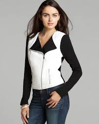 lyst guess jacket faux leather and knit in black