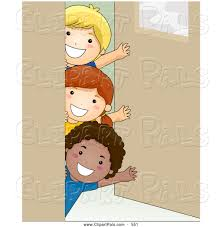 classroom door clipart. Unique Clipart Pal Clipart Of A Group Three Kids Waving Around Classroom Door For L