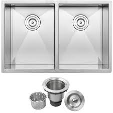 Ticor 29 In X 19 In Brushed Stainless Steel Double Basin Undermount