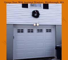 garage door with frosted insulated glass windows
