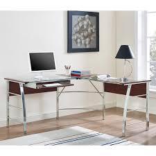 Walker Edison X-Frame Glass and Metal L-Shaped Computer Desk | Hayneedle
