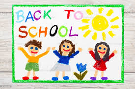 Photo Of Colorful Drawing Word Back To School And Happy Children First Day  At School Stock Photo - Download Image Now - iStock