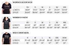 Round Neck T Shirt Size Chart Mens Vote Crew Neck