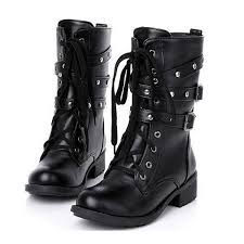 motorcycle boots women cool goth punk ankle military lace up black sku2715003