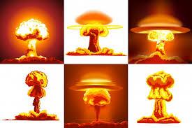 Conjunto de explosiones nucleares | Vector Premium