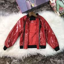 leather jacket for kids super transition material red black fashion shirt autumn and winter new hot childs poncho knitting pattern toddler girl poncho