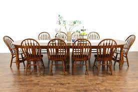 oak vine dining set 54 table 8 leaves 10 chairs richardson bros
