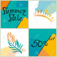 夏のセール50明るい正方形情報ポスター広告デザインのベクトル