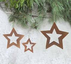 Offene Sterne 3 Tlg Anhänger Rost Christbaumschmuck