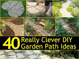 diy garden paths wood slabs pin