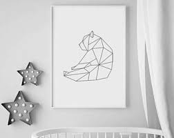 geometric bear print nursery animal print geometric wall art black and white nursery decor large wall art prints nursery art prints on geometric bear wall art with geometric bear etsy