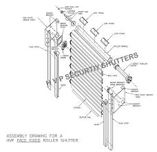 exploded view of a rubular motor roller shutter showing all components and parts