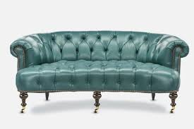 the truman elegant blue leather chesterfield loveseat
