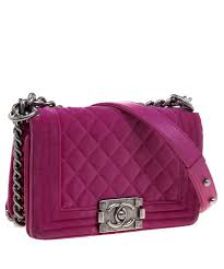 the luxury closet chanel fuschia quilted velvet small boy flap bag 2 386