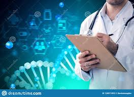 Green Chart Dna Blue Green Dna Helix And Man Doctor Writing Stock Photo