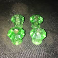 details about lot of 4 small antique glass cabinet pull knobs clear green