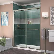 DreamLine Encore 50-in to 54-in W Frameless Brushed Nickel Sliding Shower  Door