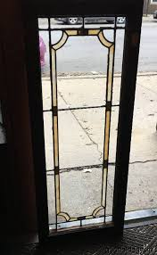description 1 of 3 antique stained leaded glass transom window cabinet door