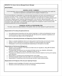 Bank Manager Job Description Sample Bank Teller Job Description 8 Examples In Pdf
