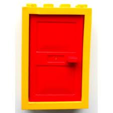 lego yellow door 2 x 4 x 5 frame with red door