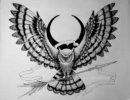 сова со стрелой рисунок