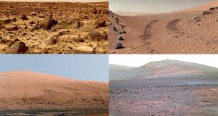 Image result for the rust-colored Martian surface.
