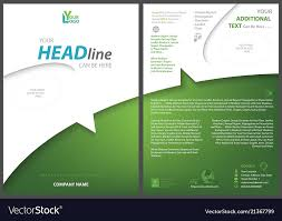 Green Brochure Template White Green Flyer Template Royalty Free Vector Image