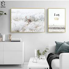 nordic deer wall art posters and prints animal canvas painting for bedroom decoration scandinavian on wall decor prints with nordic deer wall art posters and prints animal canvas painting for
