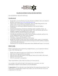 Enchanting Resume Description for Prep Cook In Resume Examples for Cooks  Fast Food Server Resume Sample Seasonal