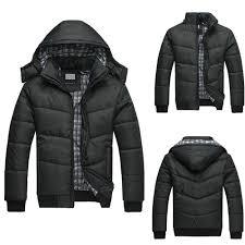 details about men s black puffer jacket warm overcoat outwear padded hooded down winter coat