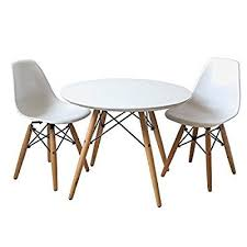 buschman set of table and 2 white kids eames style retro modern dining room mid century s chair metal natural wood dowel leg base plastic molded armless