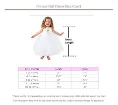 4 Year Girl Dress Size Chart Flower Girl Dress Wedding Dress For Girls Birthday Baby And