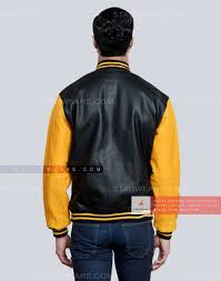 black gold mens leather varsity jacket back